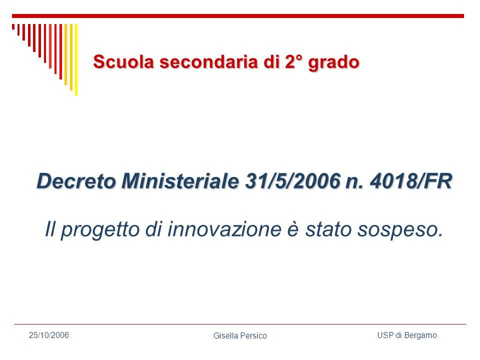 USP di Bergamo Gisella Persico 25/10/2006 Decreto Ministeriale 31/5/2006 n.