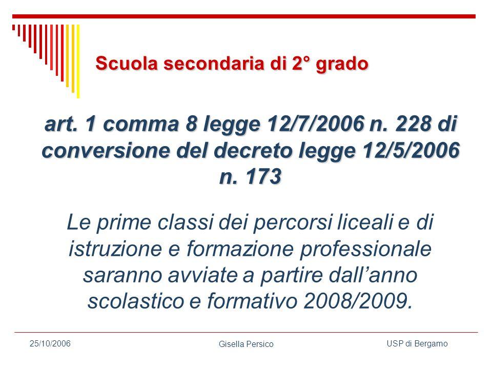 USP di Bergamo Gisella Persico 25/10/2006 art.1 comma 8 legge 12/7/2006 n.