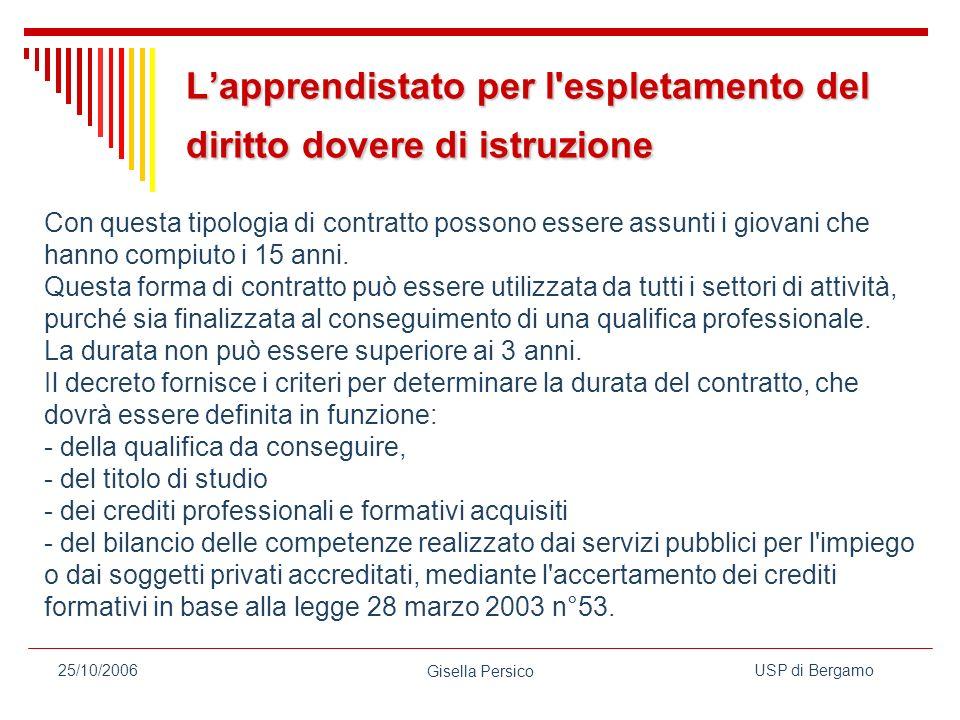 USP di Bergamo Gisella Persico 25/10/2006 Lapprendistato per l espletamento del diritto dovere di istruzione Con questa tipologia di contratto possono essere assunti i giovani che hanno compiuto i 15 anni.