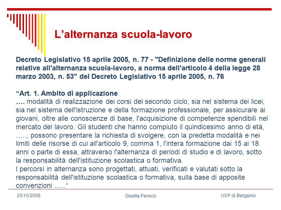 USP di Bergamo Gisella Persico 25/10/2006 Lalternanza scuola-lavoro Decreto Legislativo 15 aprile 2005, n.