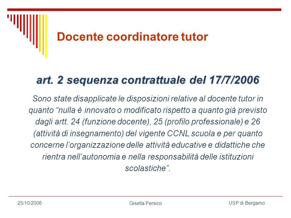 USP di Bergamo Gisella Persico 25/10/2006 Docente coordinatore tutor art.