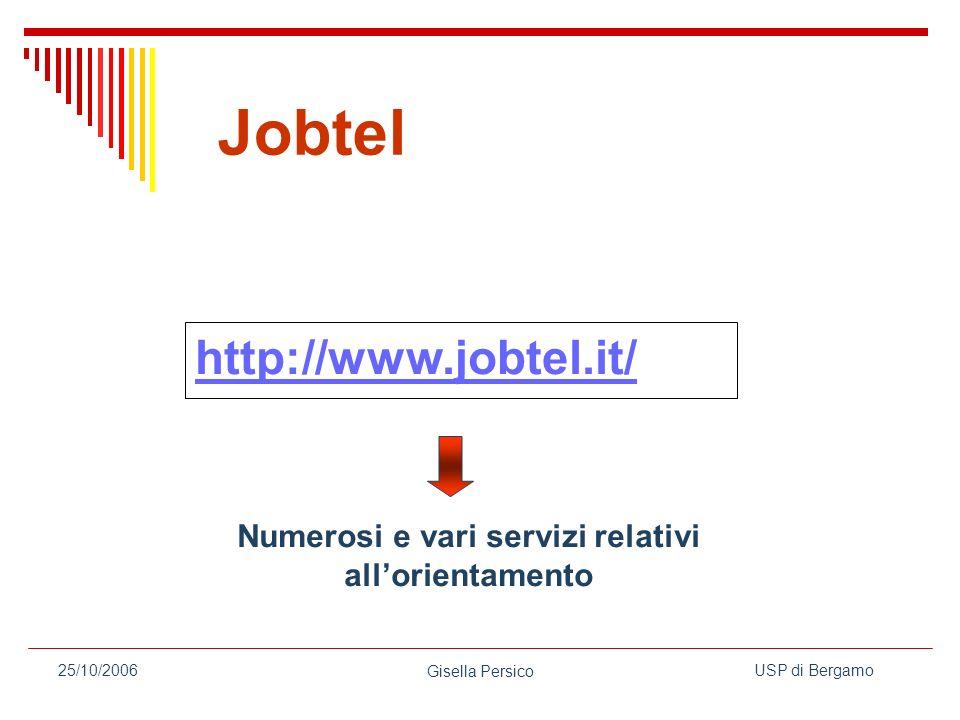 USP di Bergamo Gisella Persico 25/10/2006 http://www.jobtel.it/ Numerosi e vari servizi relativi allorientamento Jobtel