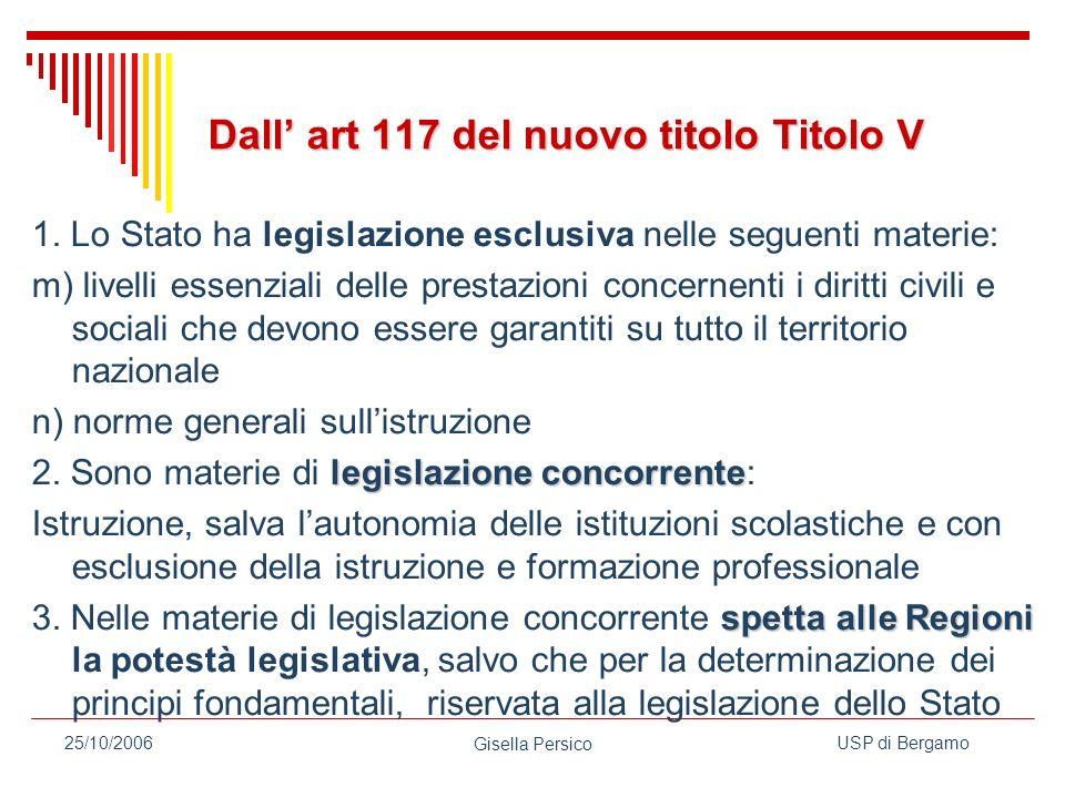USP di Bergamo Gisella Persico 25/10/2006 Dall art 117 del nuovo titolo Titolo V 1.