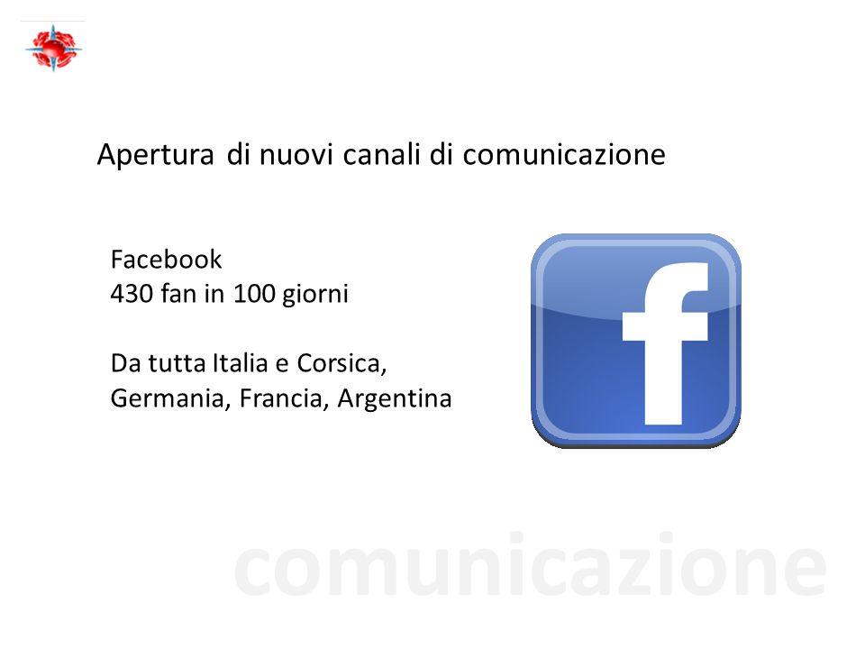 comunicazione Apertura di nuovi canali di comunicazione Facebook 430 fan in 100 giorni Da tutta Italia e Corsica, Germania, Francia, Argentina