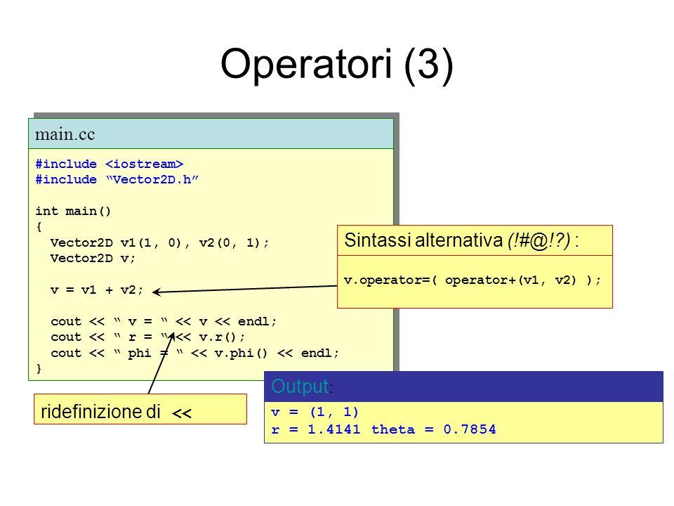 Operatori (3) Esempio: #include #include Vector2D.h int main() { Vector2D v1(1, 0), v2(0, 1); Vector2D v; v = v1 + v2; cout << v = << v << endl; cout << r = << v.r(); cout << phi = << v.phi() << endl; } #include #include Vector2D.h int main() { Vector2D v1(1, 0), v2(0, 1); Vector2D v; v = v1 + v2; cout << v = << v << endl; cout << r = << v.r(); cout << phi = << v.phi() << endl; } main.cc v = (1, 1) r = 1.4141 theta = 0.7854 Output : ridefinizione di << v.operator=( operator+(v1, v2) ); Sintassi alternativa (!#@! ) :