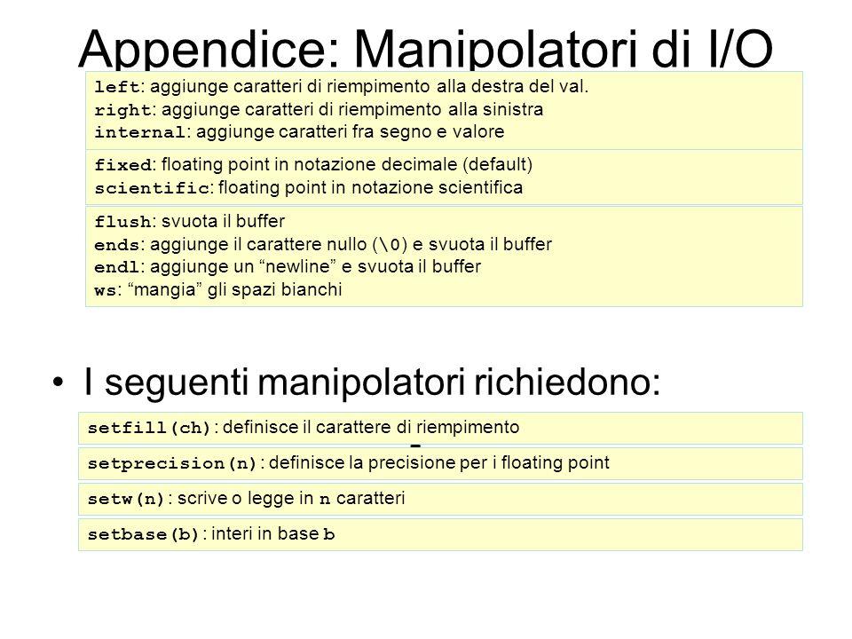 Appendice: Manipolatori di I/O (2) I seguenti manipolatori richiedono: #include left : aggiunge caratteri di riempimento alla destra del val.