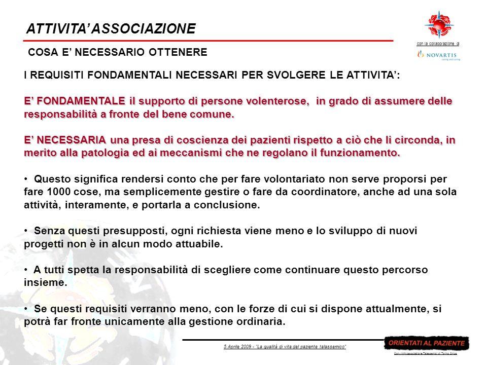 5 Aprile 2009 - La qualità di vita del paziente talassemico con la collaborazione di Copyright Associazione Talassemici di Torino Onlus ATTIVITA ASSOCIAZIONE COSA E NECESSARIO OTTENERE I REQUISITI FONDAMENTALI NECESSARI PER SVOLGERE LE ATTIVITA: E FONDAMENTALE il supporto di persone volenterose, in grado di assumere delle responsabilità a fronte del bene comune.