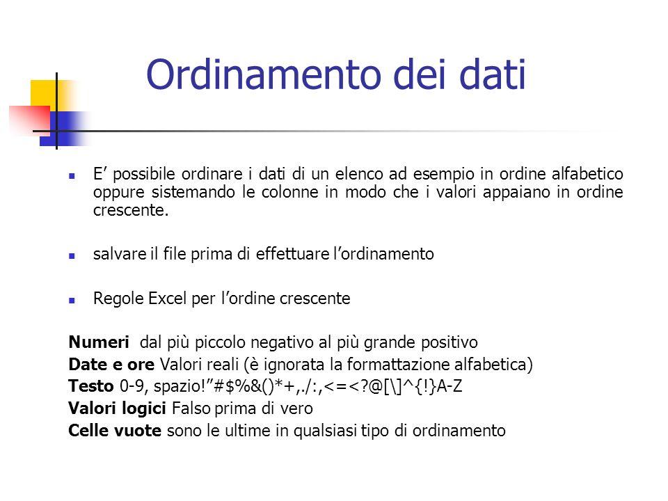 Ordinamento dei dati E possibile ordinare i dati di un elenco ad esempio in ordine alfabetico oppure sistemando le colonne in modo che i valori appaiano in ordine crescente.