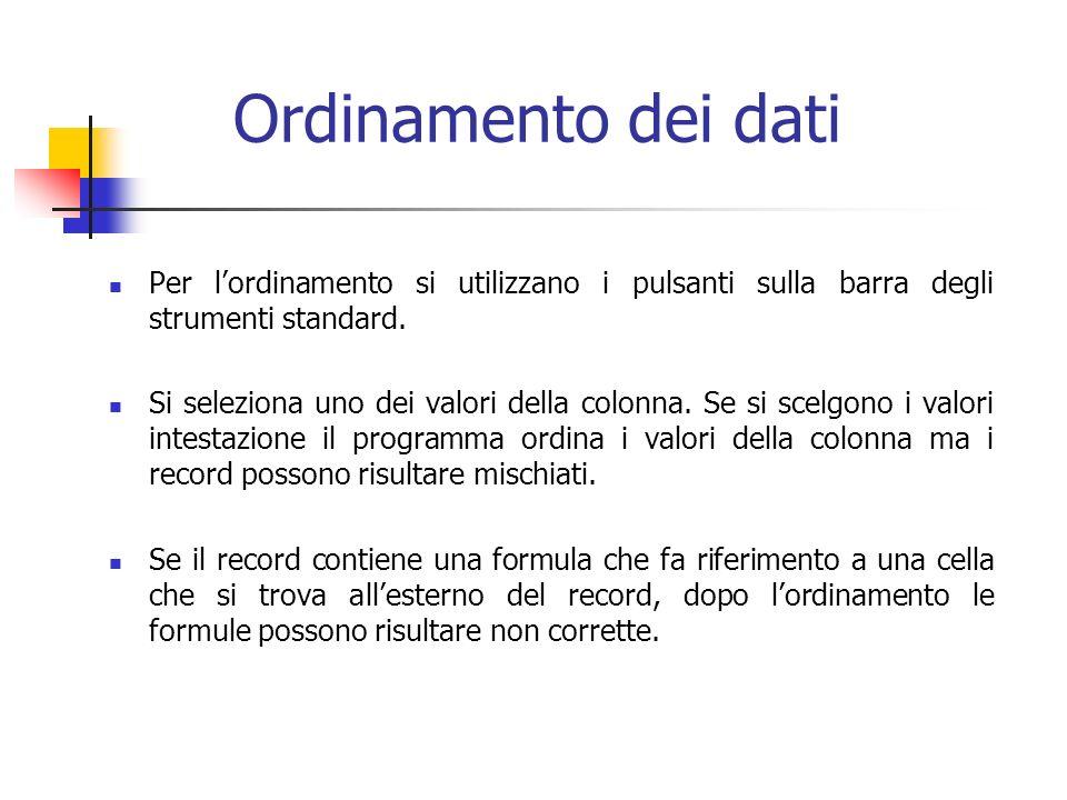 Ordinamento dei dati Per lordinamento si utilizzano i pulsanti sulla barra degli strumenti standard. Si seleziona uno dei valori della colonna. Se si