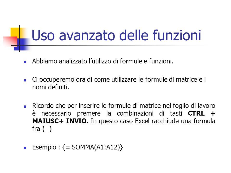 Uso avanzato delle funzioni Abbiamo analizzato lutilizzo di formule e funzioni. Ci occuperemo ora di come utilizzare le formule di matrice e i nomi de