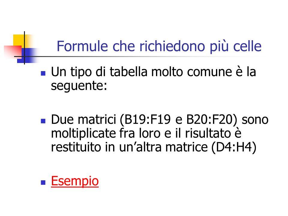 Formule che richiedono più celle Un tipo di tabella molto comune è la seguente: Due matrici (B19:F19 e B20:F20) sono moltiplicate fra loro e il risultato è restituito in unaltra matrice (D4:H4) Esempio