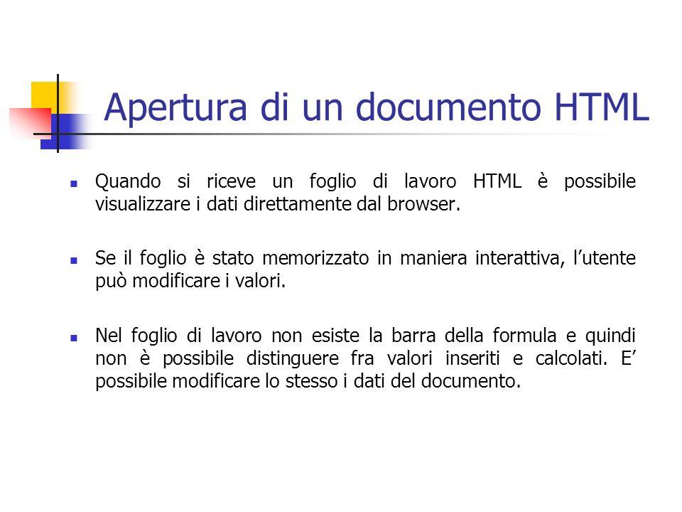 Apertura di un documento HTML Quando si riceve un foglio di lavoro HTML è possibile visualizzare i dati direttamente dal browser. Se il foglio è stato