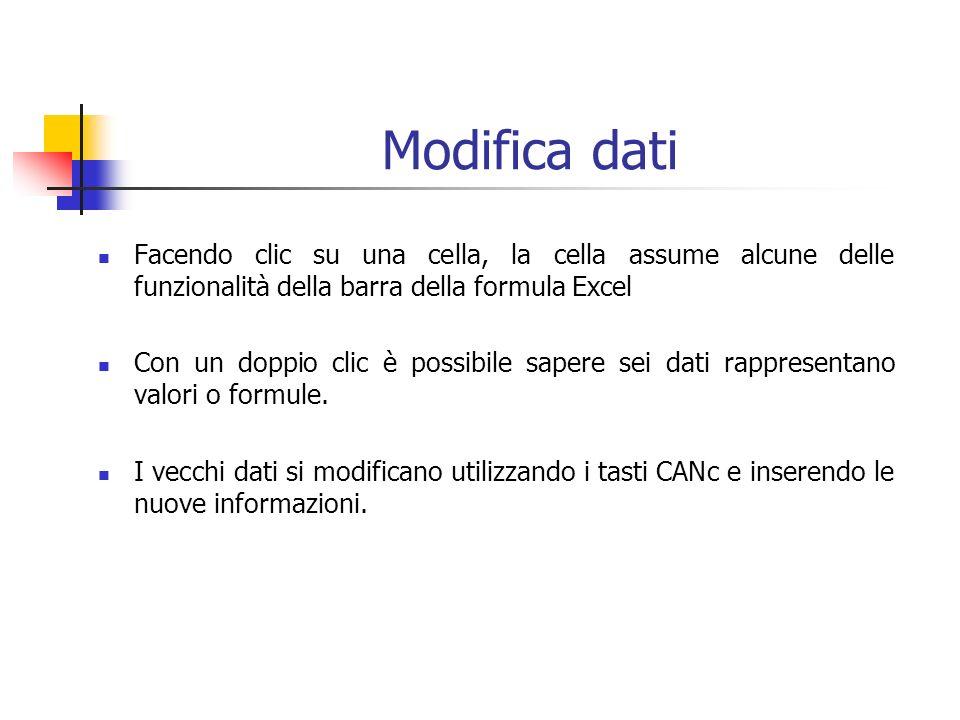 Modifica dati Facendo clic su una cella, la cella assume alcune delle funzionalità della barra della formula Excel Con un doppio clic è possibile sapere sei dati rappresentano valori o formule.