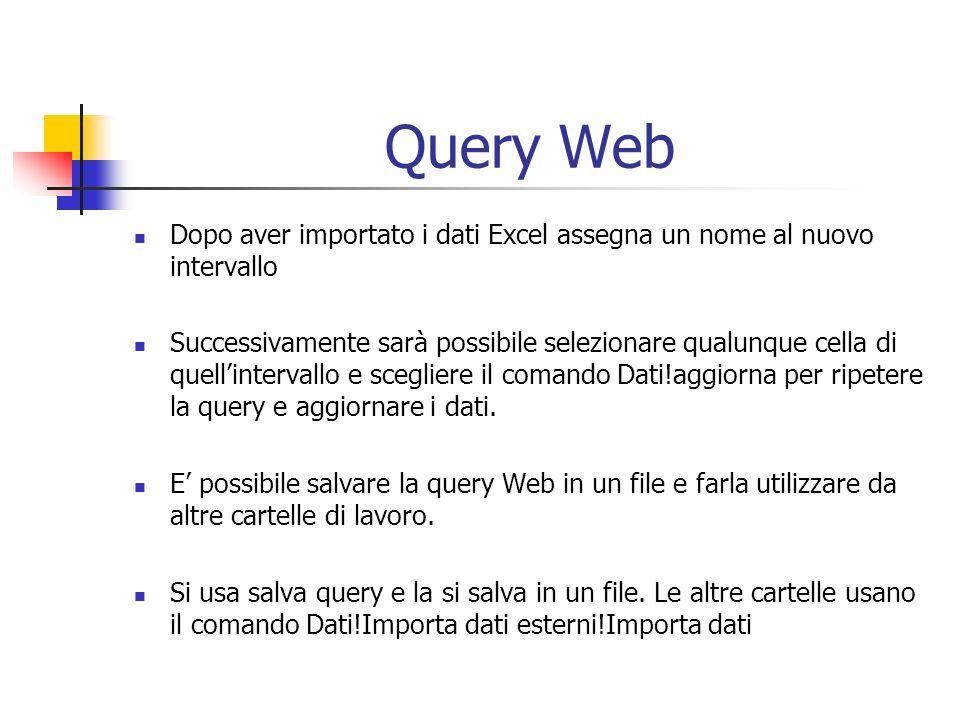 Query Web Dopo aver importato i dati Excel assegna un nome al nuovo intervallo Successivamente sarà possibile selezionare qualunque cella di quellintervallo e scegliere il comando Dati!aggiorna per ripetere la query e aggiornare i dati.