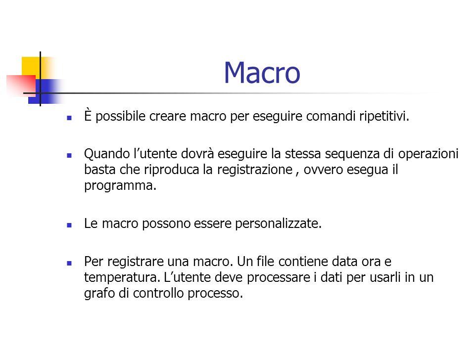 Macro È possibile creare macro per eseguire comandi ripetitivi. Quando lutente dovrà eseguire la stessa sequenza di operazioni basta che riproduca la