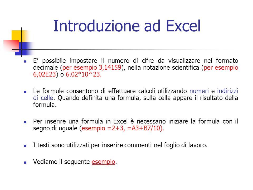 Introduzione ad Excel E possibile impostare il numero di cifre da visualizzare nel formato decimale (per esempio 3,14159), nella notazione scientifica