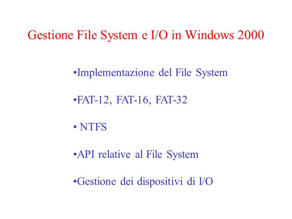 Il File System MS-DOS Rappresentazione di una directory in MS-DOS Attributi : file nascosto, file di sistema, ecc.
