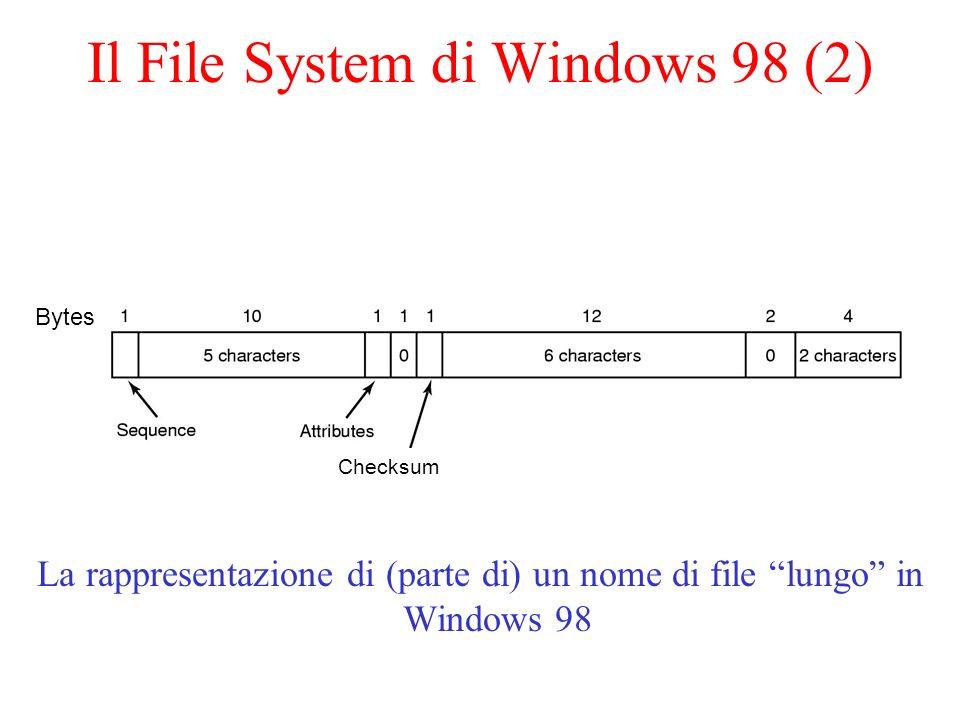 NTFS (Windows NT/2000) Indirizzi a 64 bit Nomi dei file in codifica Unicode Case-sensitive Stream multipli e attibuti associati ad un file I blocchi vanno da 512 bytes a 64K (standard 4 Kb) Supporta compressione e crittografia dei file