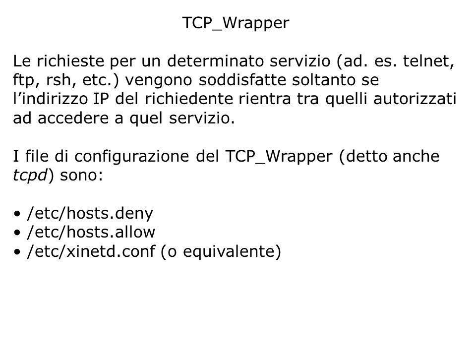 TCP_Wrapper Le richieste per un determinato servizio (ad.