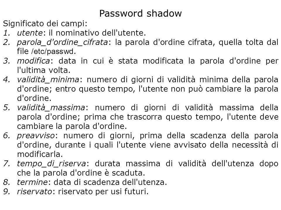 Password shadow Significato dei campi: 1.utente: il nominativo dell utente.