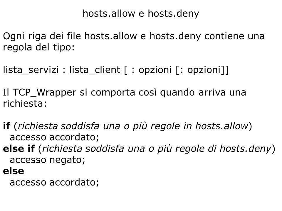 hosts.allow e hosts.deny Ogni riga dei file hosts.allow e hosts.deny contiene una regola del tipo: lista_servizi : lista_client [ : opzioni [: opzioni]] Il TCP_Wrapper si comporta così quando arriva una richiesta: if (richiesta soddisfa una o più regole in hosts.allow) accesso accordato; else if (richiesta soddisfa una o più regole di hosts.deny) accesso negato; else accesso accordato;