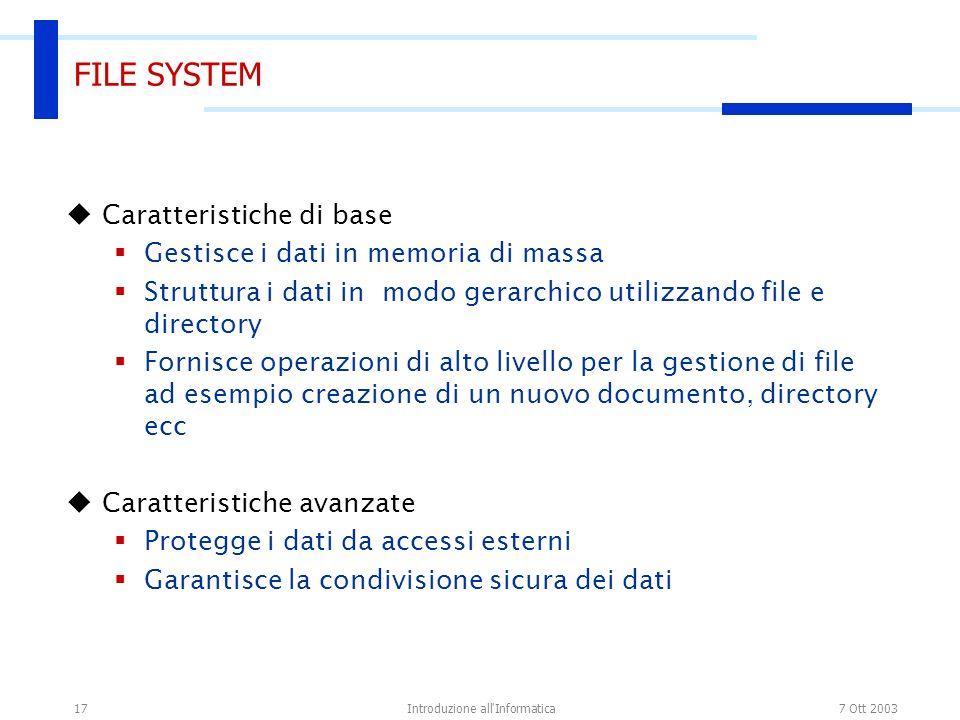 7 Ott 2003Introduzione all'Informatica17 FILE SYSTEM Caratteristiche di base Gestisce i dati in memoria di massa Struttura i dati in modo gerarchico u
