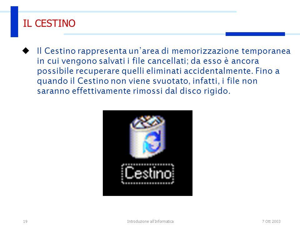 7 Ott 2003Introduzione all'Informatica19 IL CESTINO Il Cestino rappresenta unarea di memorizzazione temporanea in cui vengono salvati i file cancellat