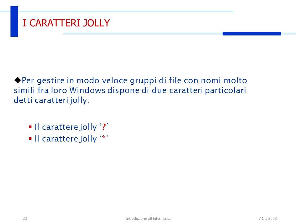 7 Ott 2003Introduzione all'Informatica23 I CARATTERI JOLLY Per gestire in modo veloce gruppi di file con nomi molto simili fra loro Windows dispone di
