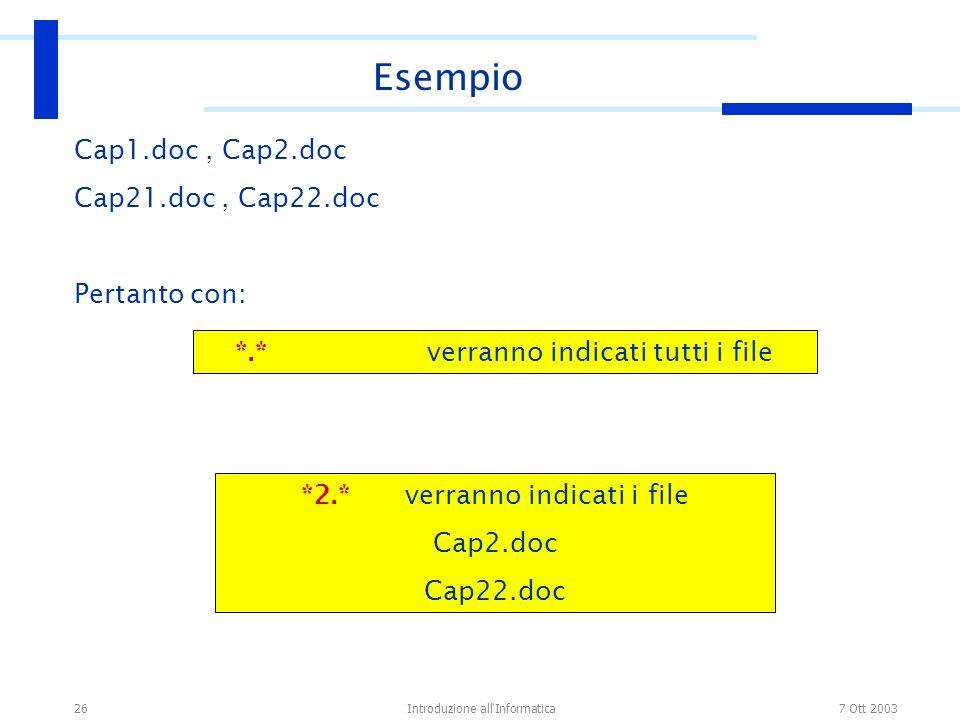 7 Ott 2003Introduzione all'Informatica26 Cap1.doc, Cap2.doc Cap21.doc, Cap22.doc Pertanto con: Esempio *.* verranno indicati tutti i file *2.* verrann