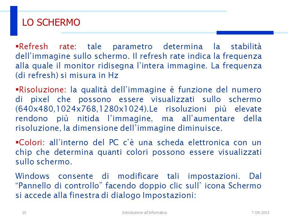 7 Ott 2003Introduzione all'Informatica30 LO SCHERMO Refresh rate: tale parametro determina la stabilità dellimmagine sullo schermo. Il refresh rate in