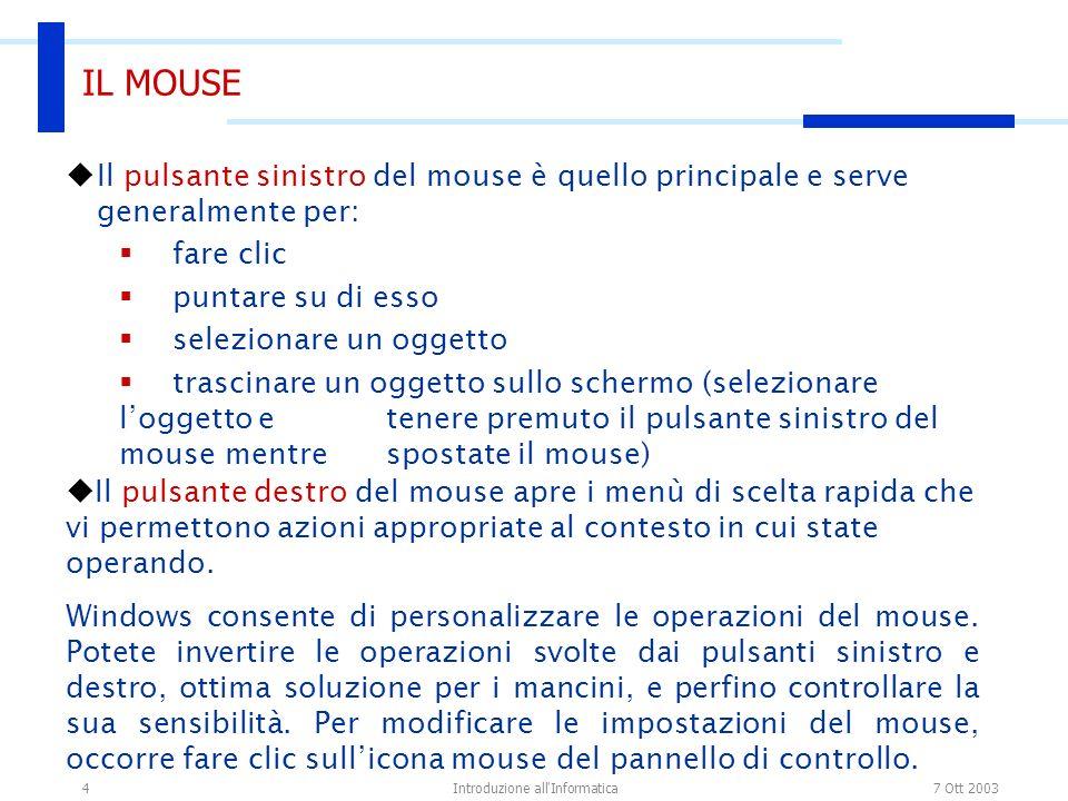 7 Ott 2003Introduzione all Informatica4 IL MOUSE Il pulsante sinistro del mouse è quello principale e serve generalmente per: fare clic puntare su di esso selezionare un oggetto trascinare un oggetto sullo schermo (selezionare loggetto e tenere premuto il pulsante sinistro del mouse mentre spostate il mouse) Il pulsante destro del mouse apre i menù di scelta rapida che vi permettono azioni appropriate al contesto in cui state operando.