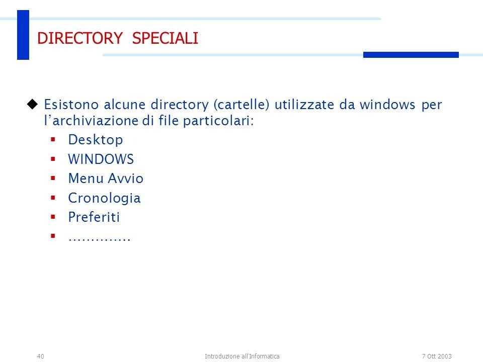 7 Ott 2003Introduzione all Informatica40 DIRECTORY SPECIALI Esistono alcune directory (cartelle) utilizzate da windows per larchiviazione di file particolari: Desktop WINDOWS Menu Avvio Cronologia Preferiti …………..