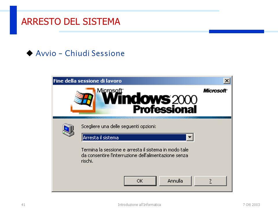 7 Ott 2003Introduzione all Informatica41 ARRESTO DEL SISTEMA Avvio – Chiudi Sessione