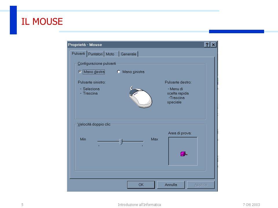 7 Ott 2003Introduzione all'Informatica5 IL MOUSE