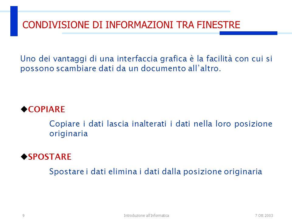 7 Ott 2003Introduzione all Informatica9 CONDIVISIONE DI INFORMAZIONI TRA FINESTRE Uno dei vantaggi di una interfaccia grafica è la facilità con cui si possono scambiare dati da un documento allaltro.