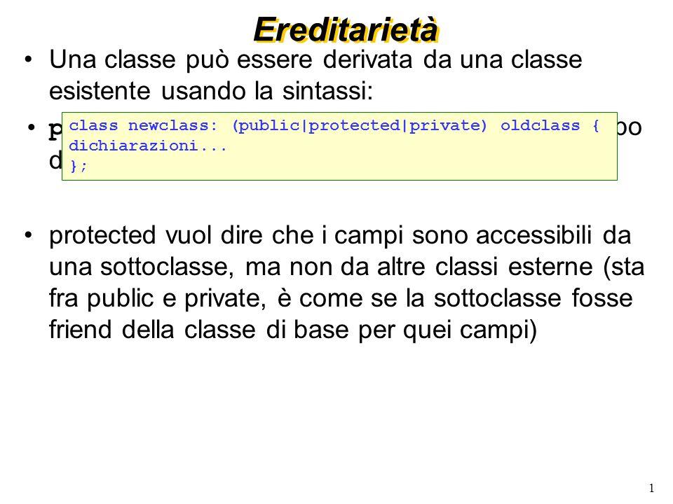 2 Ereditarietà (2) Una classe derivata pubblicamente è a tutti gli effetti un sottotipo della classe base.