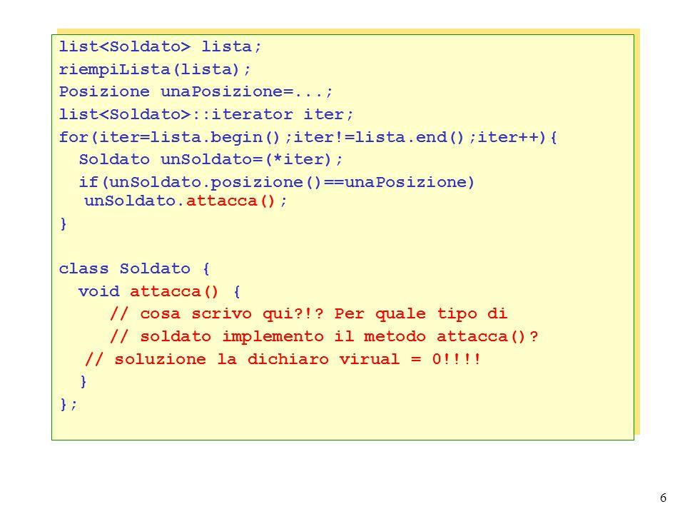 6 list lista; riempiLista(lista); Posizione unaPosizione=...; list ::iterator iter; for(iter=lista.begin();iter!=lista.end();iter++){ Soldato unSoldato=(*iter); if(unSoldato.posizione()==unaPosizione) unSoldato.attacca(); } class Soldato { void attacca() { // cosa scrivo qui !.