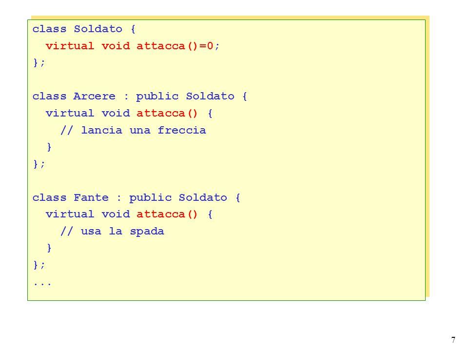 8 Erediarietà multipla Lereditarietà multipla permette di derivare una classe da due o più classi base.