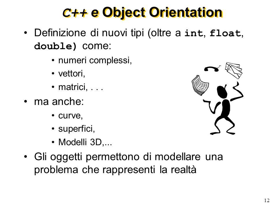 13 … C++ e Object Orientation Object Orientation implementata in C++ attraverso il concetto di classe: I dati privati (o attributi) di una classe definiscono lo stato delloggetto Le funzioni (o metodi) di una classe implementano la risposta ai messaggi