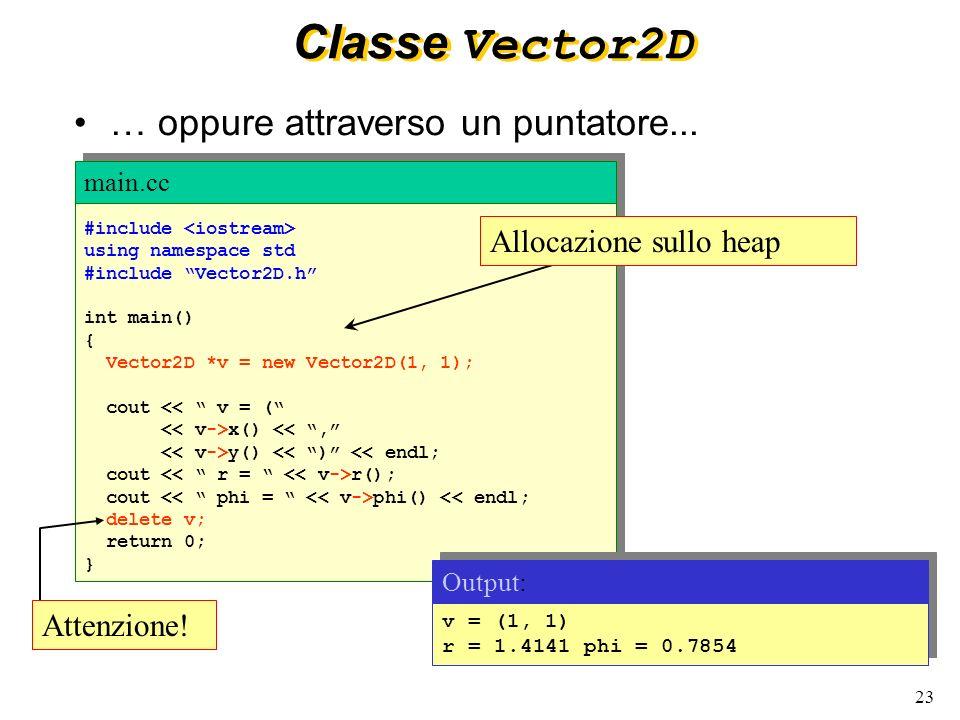 24 Interfaccia e implementazione La struttura interna dei dati ( x_, y_ ) che rappresentano loggetto della classe Vector2D sono nascosti ( private ) agli utilizzatori della classe.