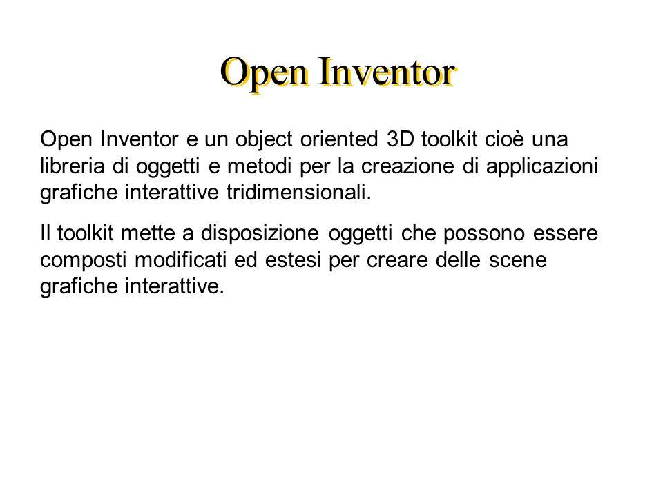 Open Inventor Open Inventor e un object oriented 3D toolkit cioè una libreria di oggetti e metodi per la creazione di applicazioni grafiche interattive tridimensionali.