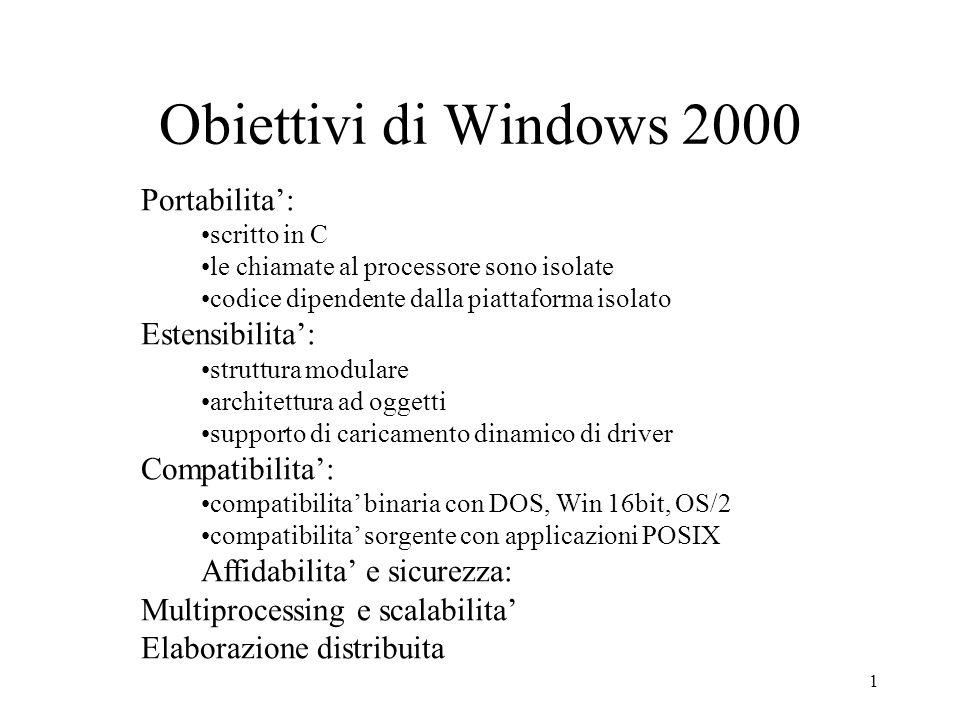 1 Obiettivi di Windows 2000 Portabilita: scritto in C le chiamate al processore sono isolate codice dipendente dalla piattaforma isolato Estensibilita