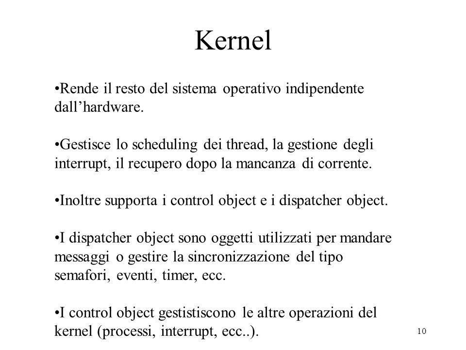 10 Kernel Rende il resto del sistema operativo indipendente dallhardware. Gestisce lo scheduling dei thread, la gestione degli interrupt, il recupero