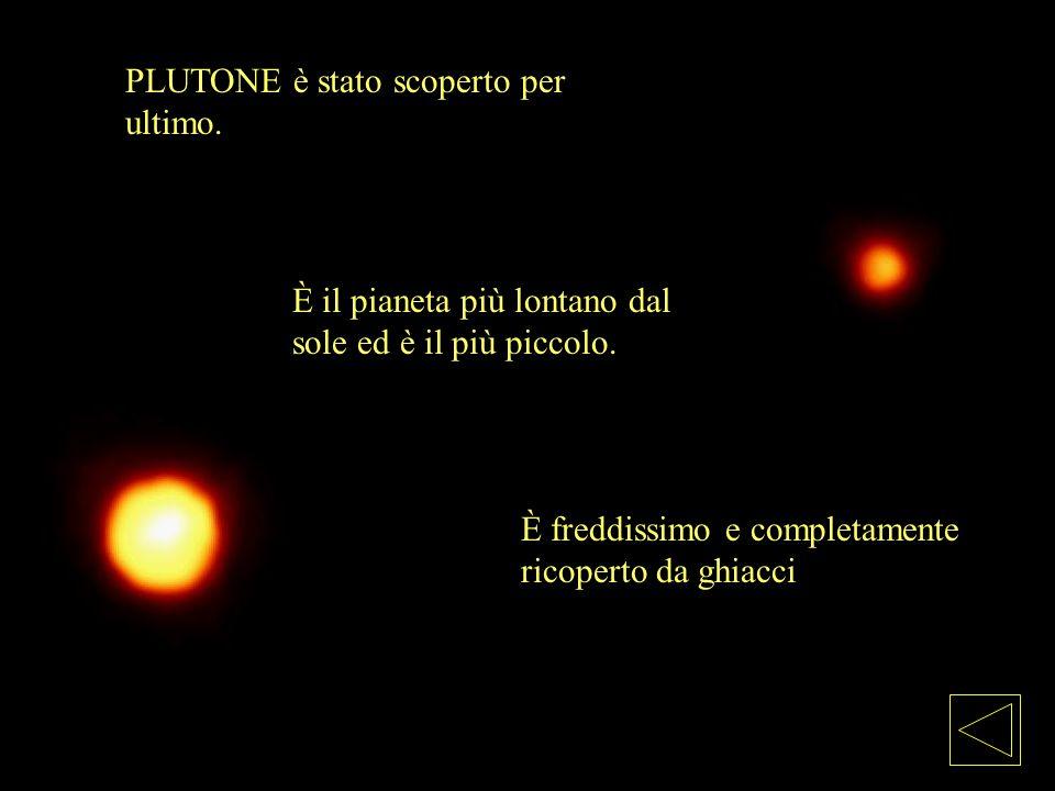 È freddissimo e completamente ricoperto da ghiacci PLUTONE è stato scoperto per ultimo. È il pianeta più lontano dal sole ed è il più piccolo.