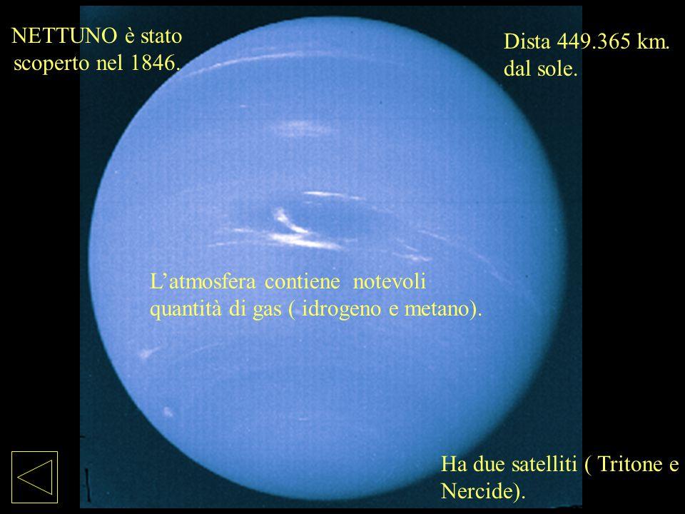 Latmosfera contiene notevoli quantità di gas ( idrogeno e metano). NETTUNO è stato scoperto nel 1846. Dista 449.365 km. dal sole. Ha due satelliti ( T