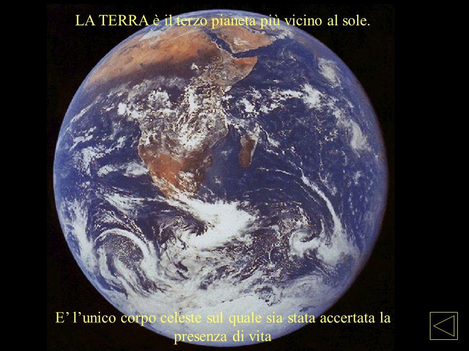 LA TERRA è il terzo pianeta più vicino al sole. E lunico corpo celeste sul quale sia stata accertata la presenza di vita