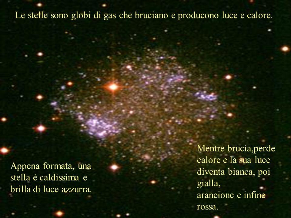 Le stelle sono globi di gas che bruciano e producono luce e calore. Appena formata, una stella è caldissima e brilla di luce azzurra. Mentre brucia,pe