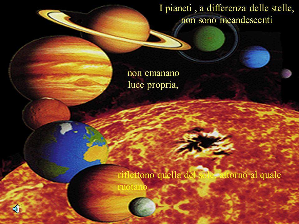 riflettono quella del sole, attorno al quale ruotano. I pianeti, a differenza delle stelle, non sono incandescenti non emanano luce propria,