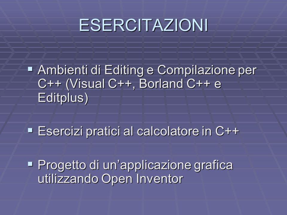 ESERCITAZIONI Ambienti di Editing e Compilazione per C++ (Visual C++, Borland C++ e Editplus) Ambienti di Editing e Compilazione per C++ (Visual C++,