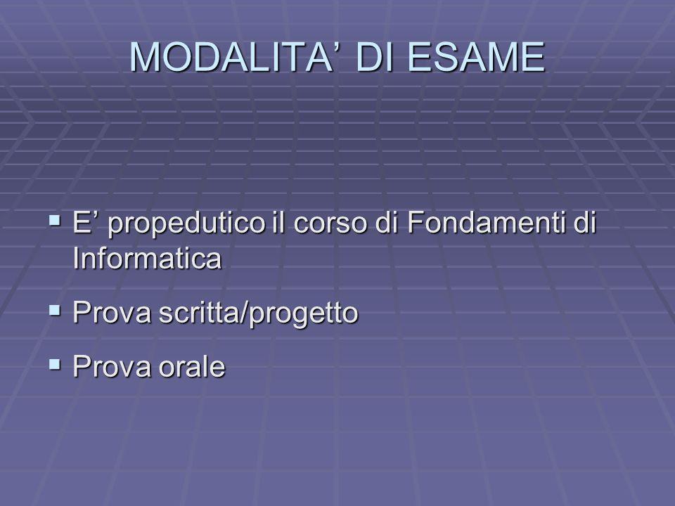 MODALITA DI ESAME E propedutico il corso di Fondamenti di Informatica E propedutico il corso di Fondamenti di Informatica Prova scritta/progetto Prova